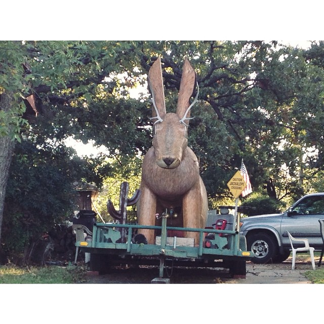 Oh, the surprises of North Denton residential neighborhoods. Jackalope smoker, we love you, and hope to eat meat from your insides one day.