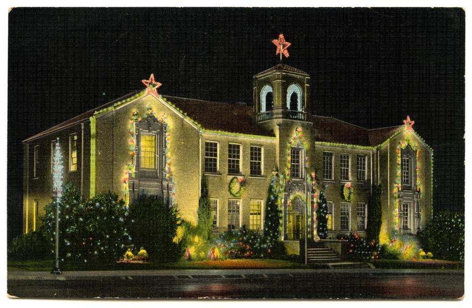 Holiday lights deck-out Denton's old City Hall building, ca 1950s. Photo from texashistory.unt.edu.