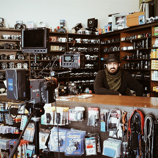 Armand Kohandani at his store, Denton Camera Exchange.