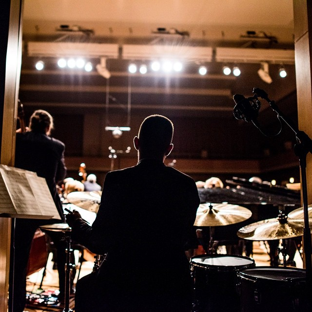 "Love this ""behind the music"" shot from @zach_ashcraft of Drew Zaremba's master's recital last week."