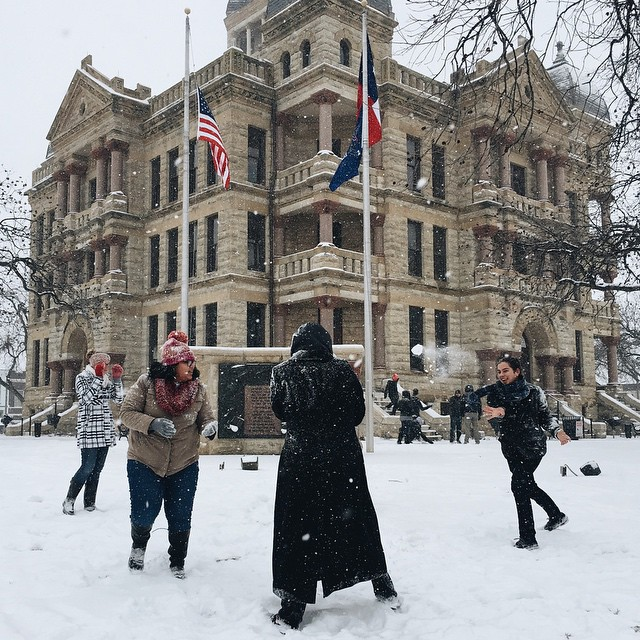 Snowball fight on the square! Great shot, @abrahamcampillo!