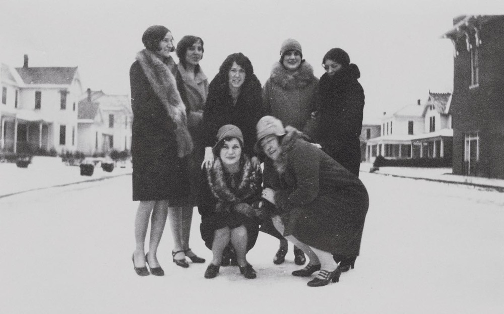 These Denton Dames venture out in the snow, and make us wonder how long they lasted in the freezing temperatures with dresses? Seriously, go home 1800's women's winter fashion, you're drunk.