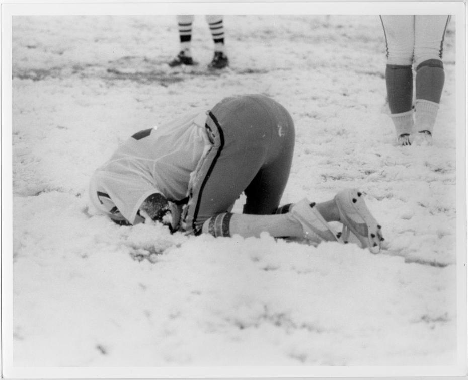 "North Texas State University's football game against Florida State University on November 13, 1976 was played on a snow-covered field, and is referred to as the ""Snow Bowl."""