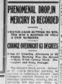 "The Monday November 14 Denton Record and Chronicle of 1911 chronicles the ""Blue Norther"" that suddenly rushed into North Texas."