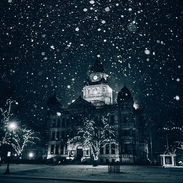 Zach Ashcraft captured the majestic beauty that was the midnight snow over Denton last Wednesday evening in this shot of the courthouse.