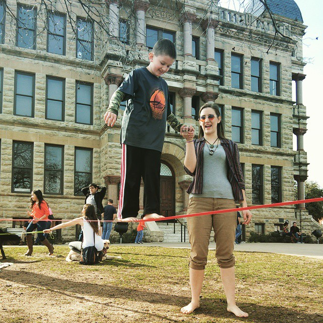Slack lining on the courthouse line.
