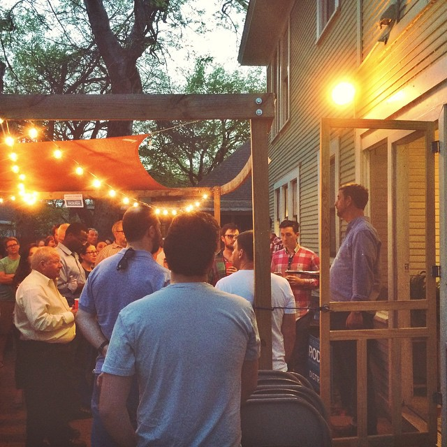 District 1 city council candidate, Kevin Roden, opened his house to supporters last Tuesday.