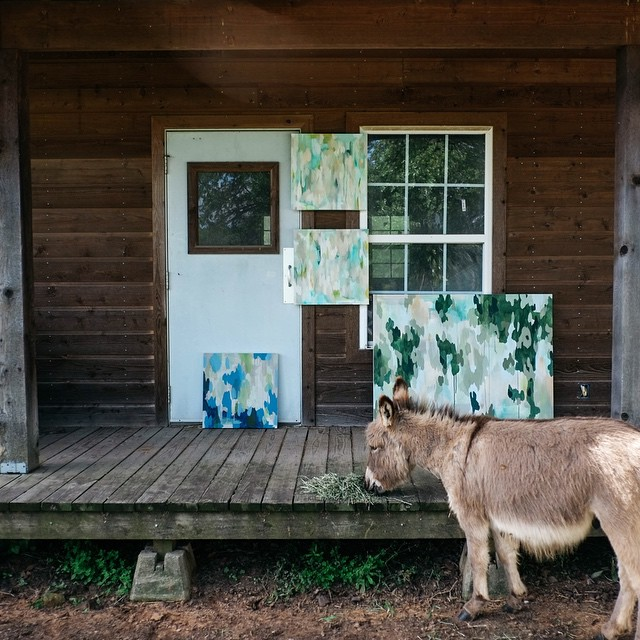 We can't resist miniature donkey pics. Throw in some art and we're done. Did the donkey paint that?