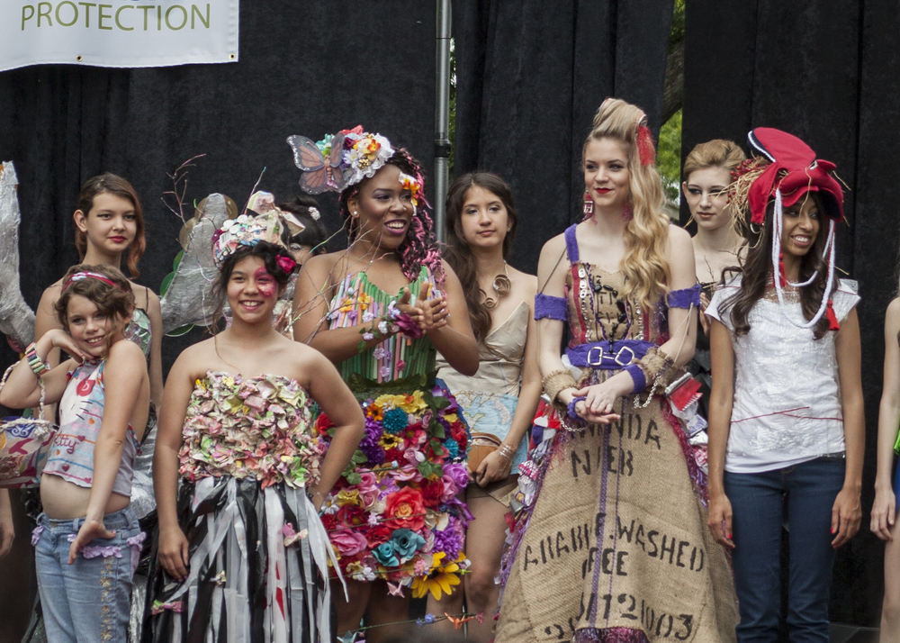 Some participants at this year's Trashion Fashion show at Keep Denton Beautiful's Redbud Festival on Saturday.