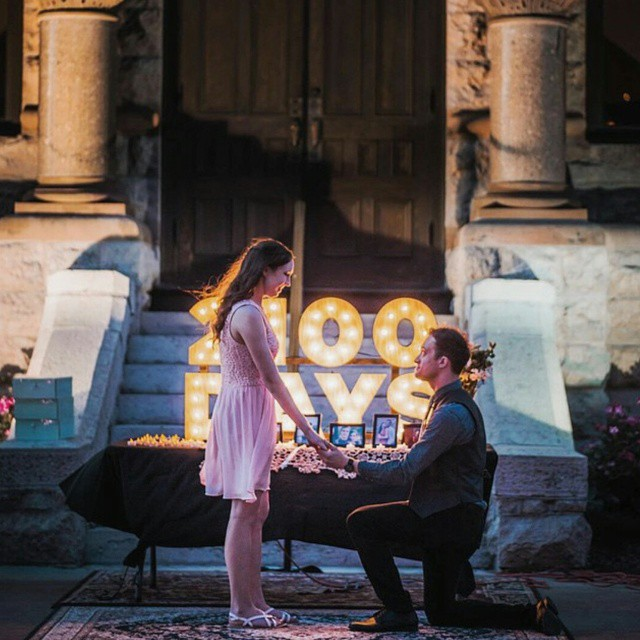 @IanHarber and a proposal on the square. Photo by @Zach_Ashcraft.