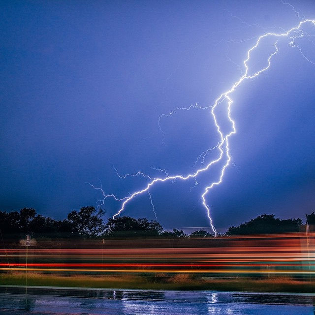 @Zach_Ashcraft caught some lightning as a train whizzed by in Argyle this weekend.