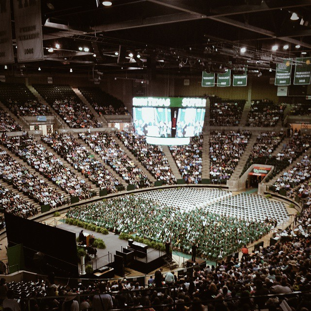 """UNT spring graduation means it is time for what we call """"slow Denton."""" When you can go to the University Kroger and not fear for your life when walking through the parking lot."""