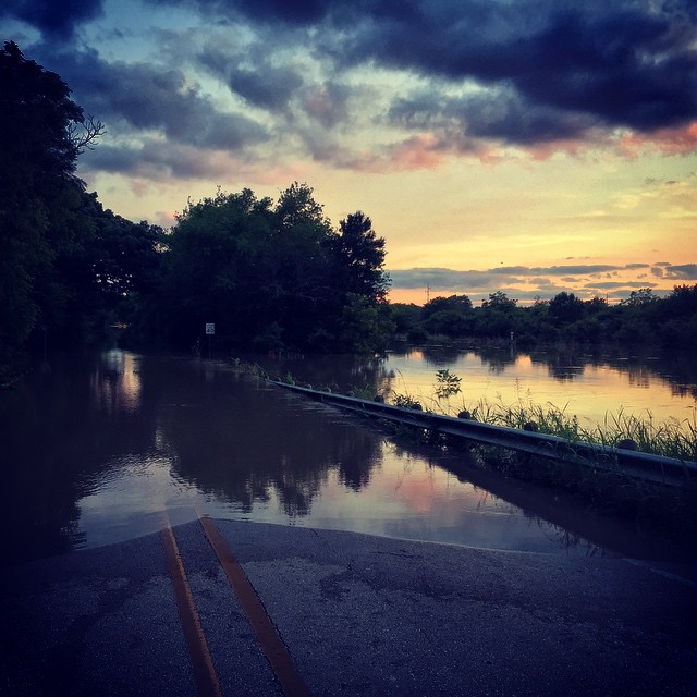As of today, there are still many roads closed due to flooding in Denton County, but most aren't as beautiful as this photo would have you believe.
