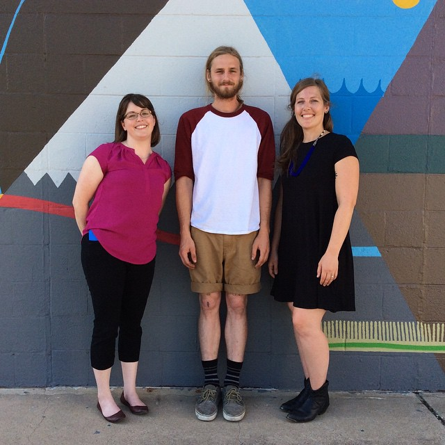 Lauren Barker of Keep Denton Beautiful, Mick Burson, and Heather Gregory of SCRAP at the reception for the new mural on the side of SCRAP last week.
