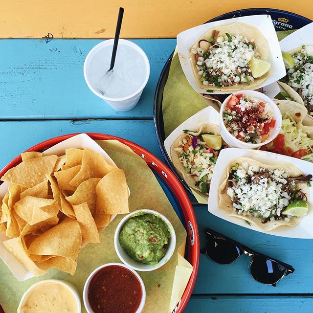 @taylorbunch_, tres grande, and plenty of tacos at Rusty's.