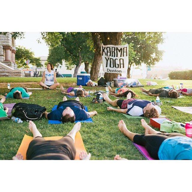 @chrisoconn and Karma Yoga Denton on the courthouse lawn.