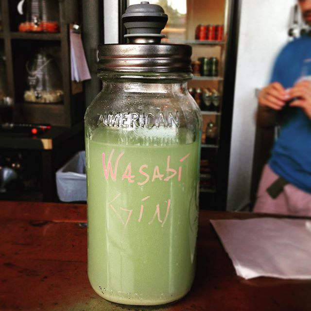 @hemilyellen found some fun infusions at Hickory and Fry. Check out the color on that wasabi gin!