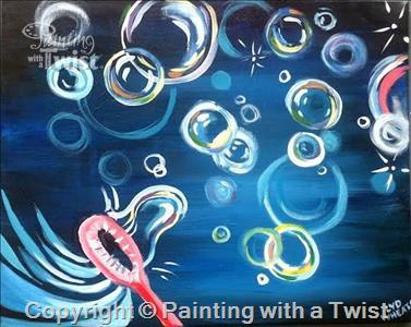 Paint some bubbles at Painting with a Twist on Saturday!