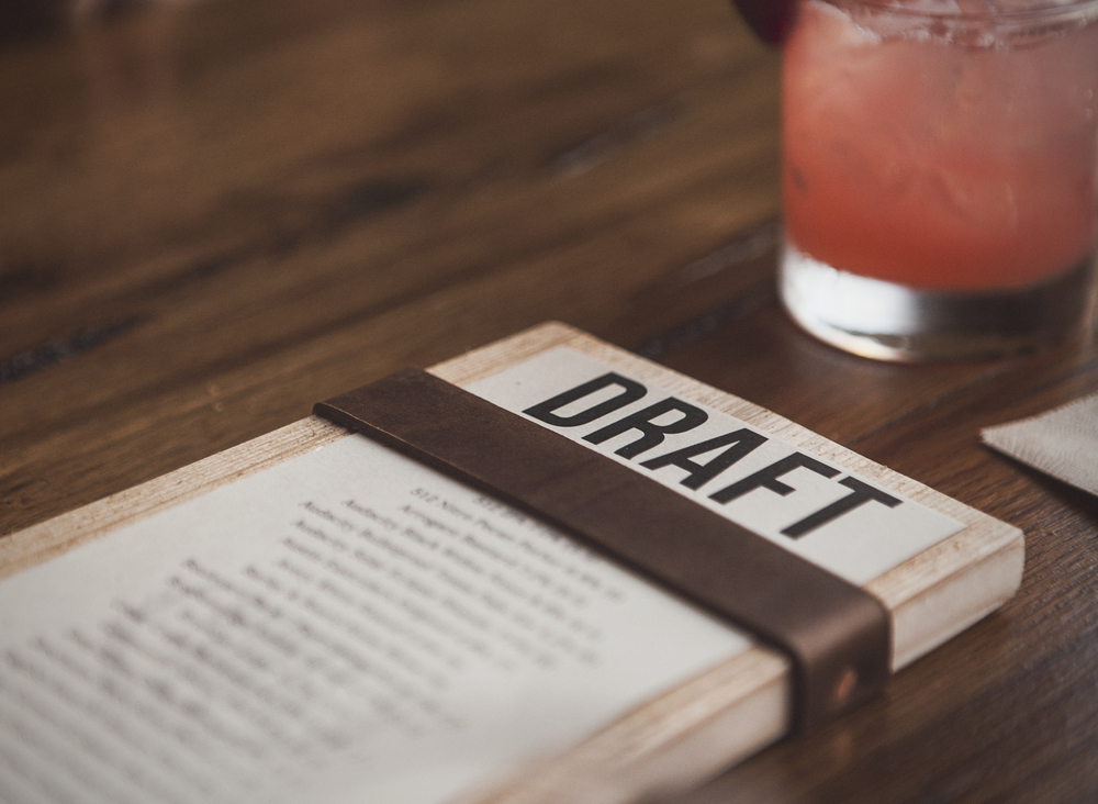 The draft beer menu at Barley and Board. The menu holder was made by Pastrana Studios. Image by  Will Milne .