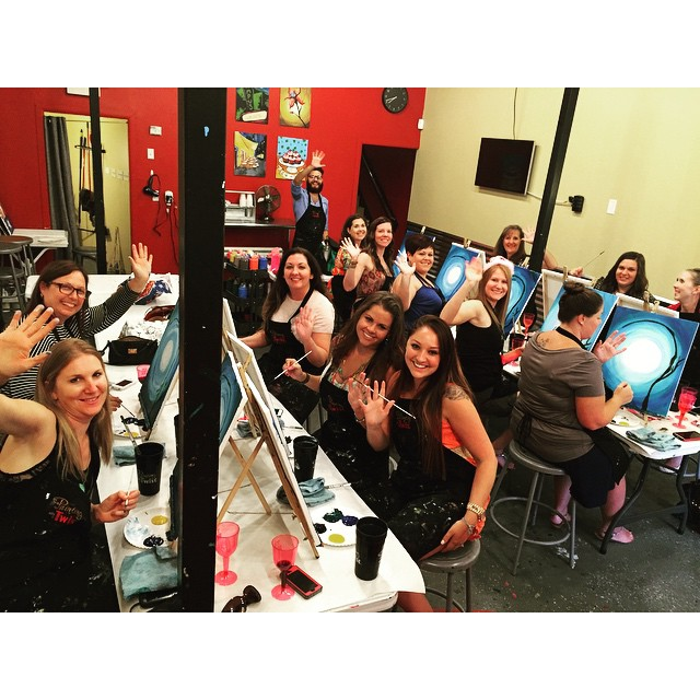 Bachelorette party at Painting with a Twist via @pwatdenton.