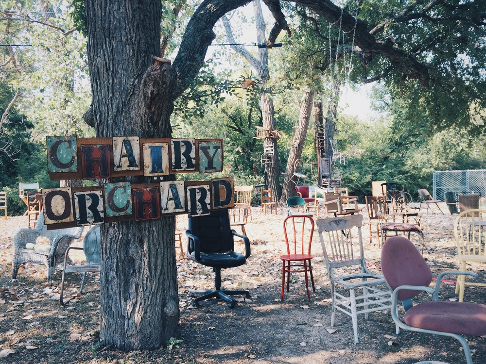 "Have y'all scene the new ""Chairy Orchard"" in #Denton yet? It's from@rosecostumes' Judy Smith and Anne Pearson and off of Windsor. One of our new favorite oddities in town."