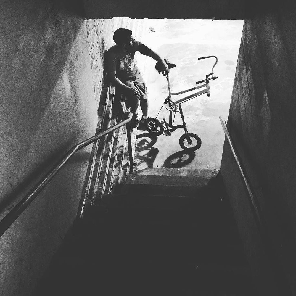 @vilevictorian, a bike, and a staircase.