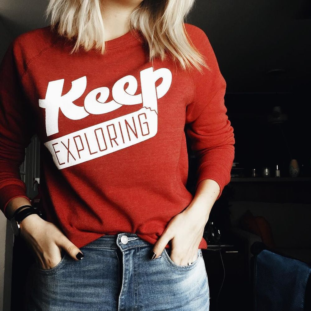 @NikaReally and a @WeKeepExploring sweatshirt.