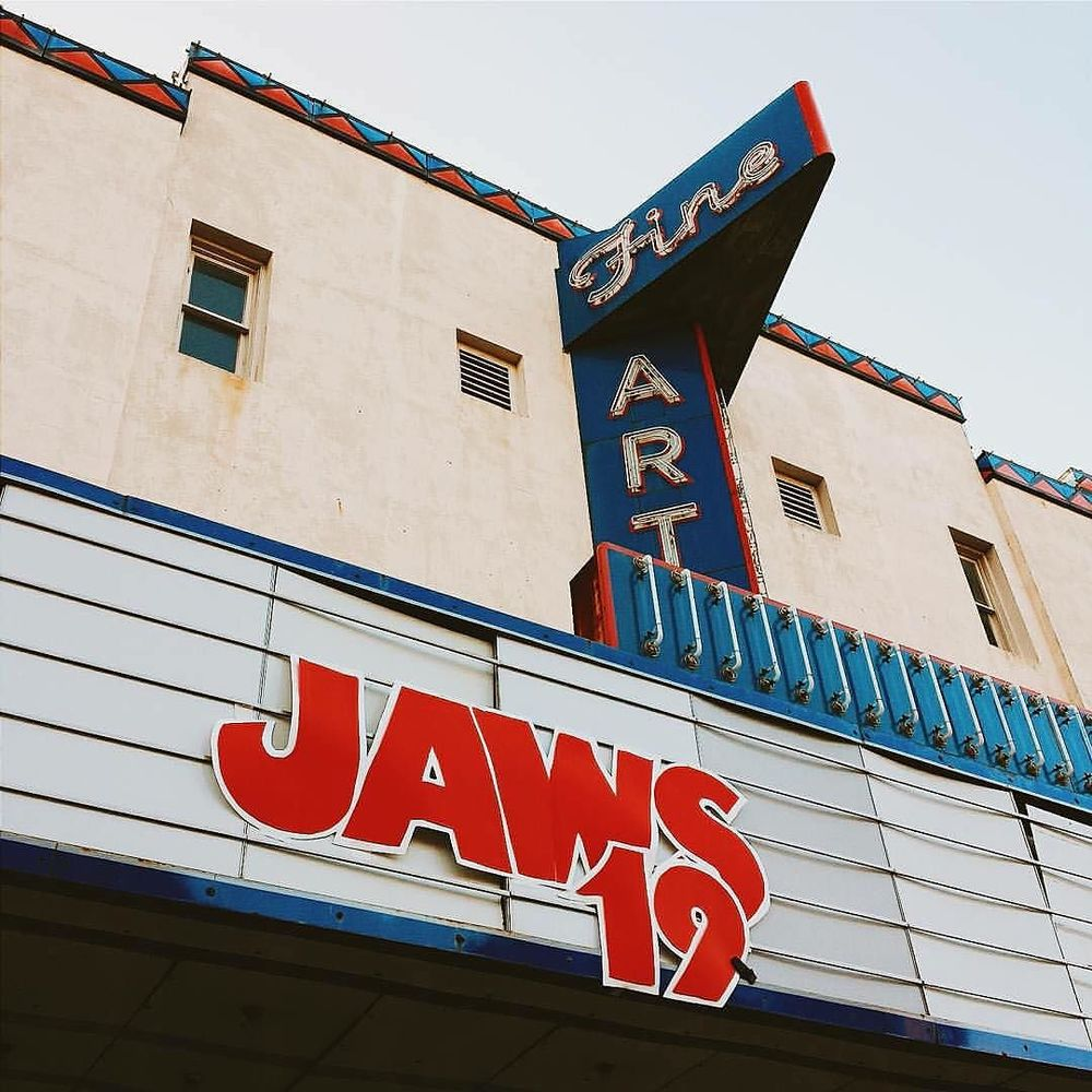 @wesleykirk shot this image of JAWS 19 on the Fine Arts Theatre marquee, but had nothing to do with it actually getting up there. We promise.