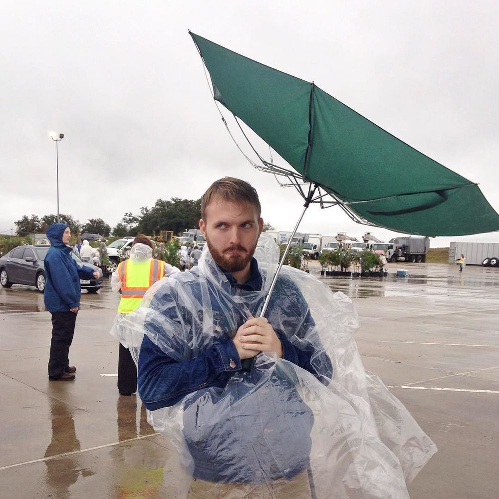 Keep Denton Beautiful had their annual Tree Giveaway on Saturday and volunteer showed up in spite of the rain. Some had a better time than others.