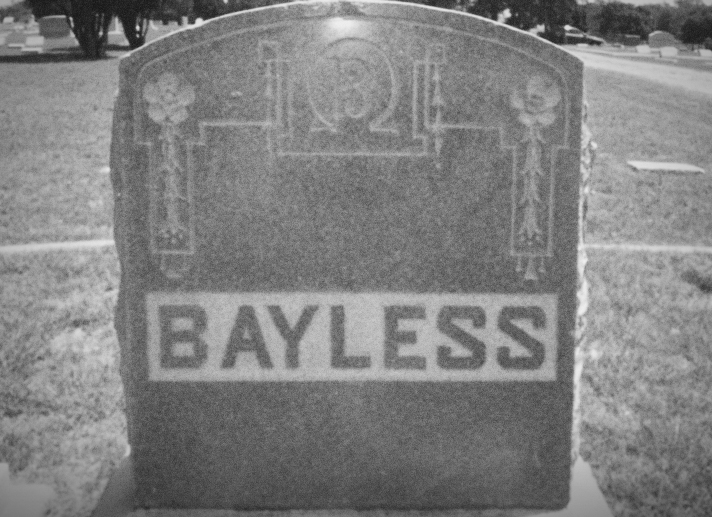 Mr. Bayless was buried in Denton's IOOF Cemetery with many other Denton luminaries… but is his restless spirit wandering elsewhere? Image from FindAGrave.com.