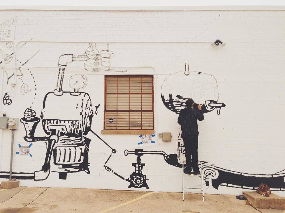 @thepaigels captured some of the goodness going up on the side of The Bearded Monk last week. Many Dentonites stopped by to add their piece.
