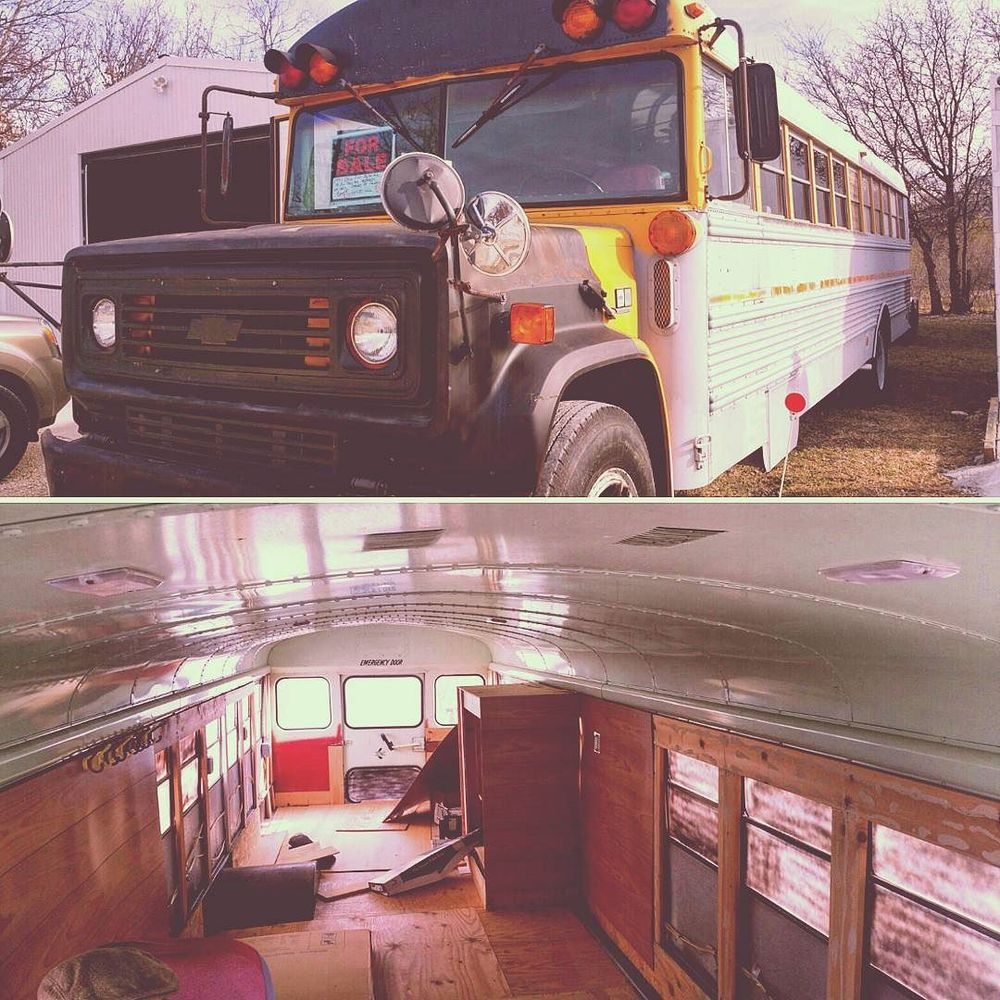 @vilevictorianleather is working on turning this old school bus into a mobile maker space and shop.