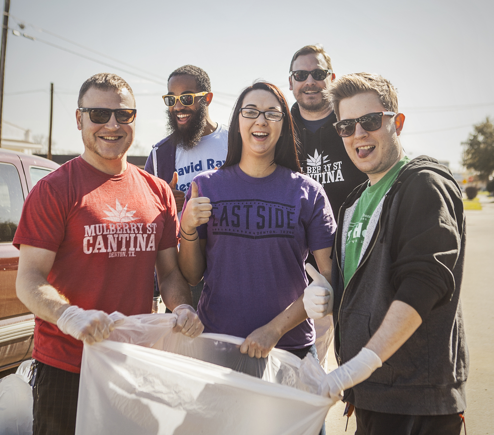 Local bar tenders helping to Keep Denton Beautiful during the Great American Cleanup.