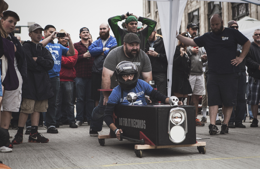 Coffin racing on Hickory St. in the rain.