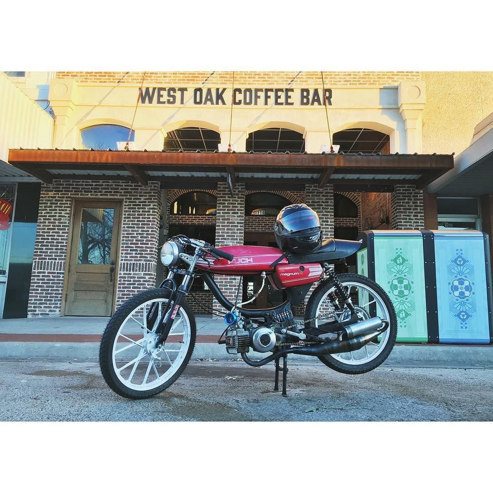 Denton bike talk at West Oak Coffee Bar. Photo by @sundayprintshop.