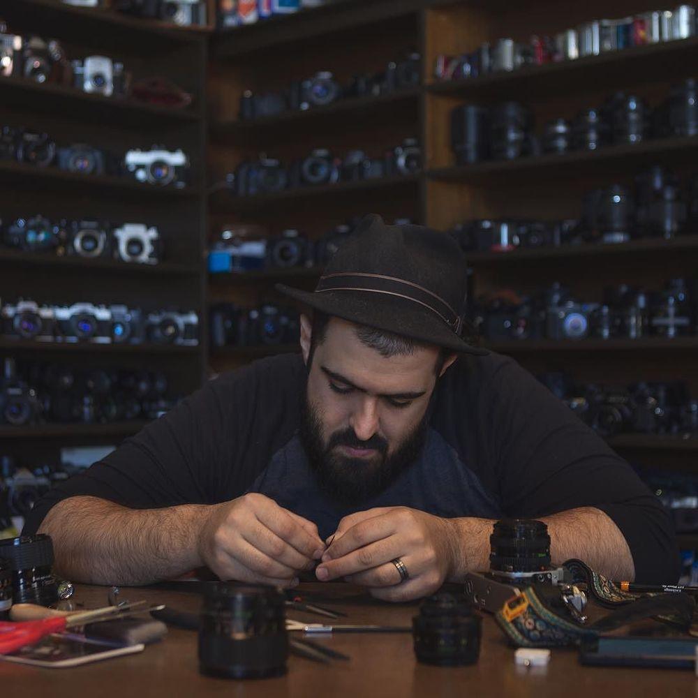 @bradholt caught Armand Kohandani, owner of Denton Camera Exchange, in his natural environment.