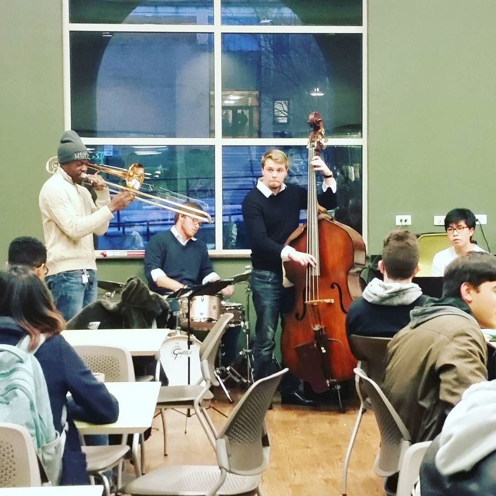 @mrsbriggle caught some live jazz in a UNT cafeteria on a school night.