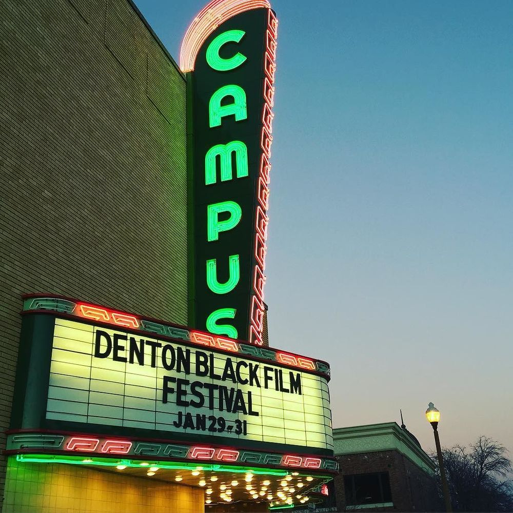This weekend Denton once again hosted the Denton Black Film Festival. We talked with Daniel Amotsuka about the fest last week. You can read the interview here. We checked out the festival on Saturday and had a great time. Here's a great photo of the Campus Theater's marquee from @veronica_n_denton.