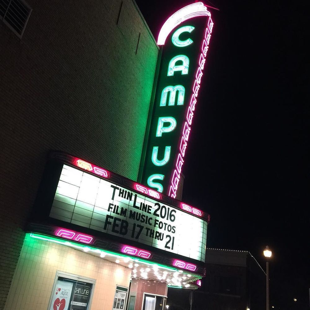 @veronica_n_denton with a shot of the Campus Theatre marquee during last week's Thin Line festival.