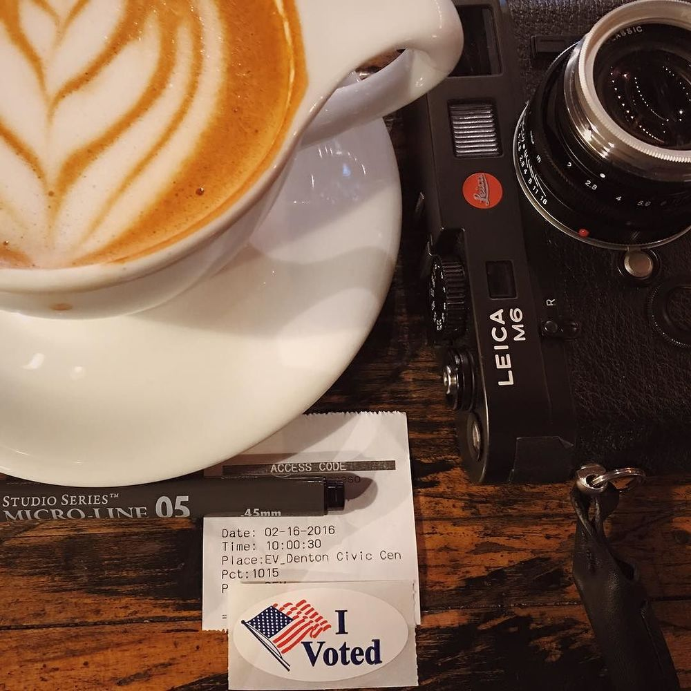 @aaronlancelopez early voted and you should, too. Also, Leicas plus cappuccinos make for a good chill session.