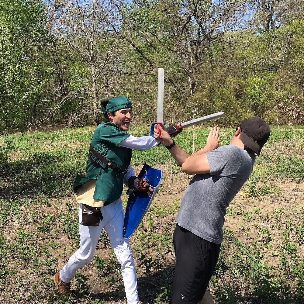 A scene from a Legend of Zelda themed bachelor party in Denton. Where's your master sword, @roybetter?