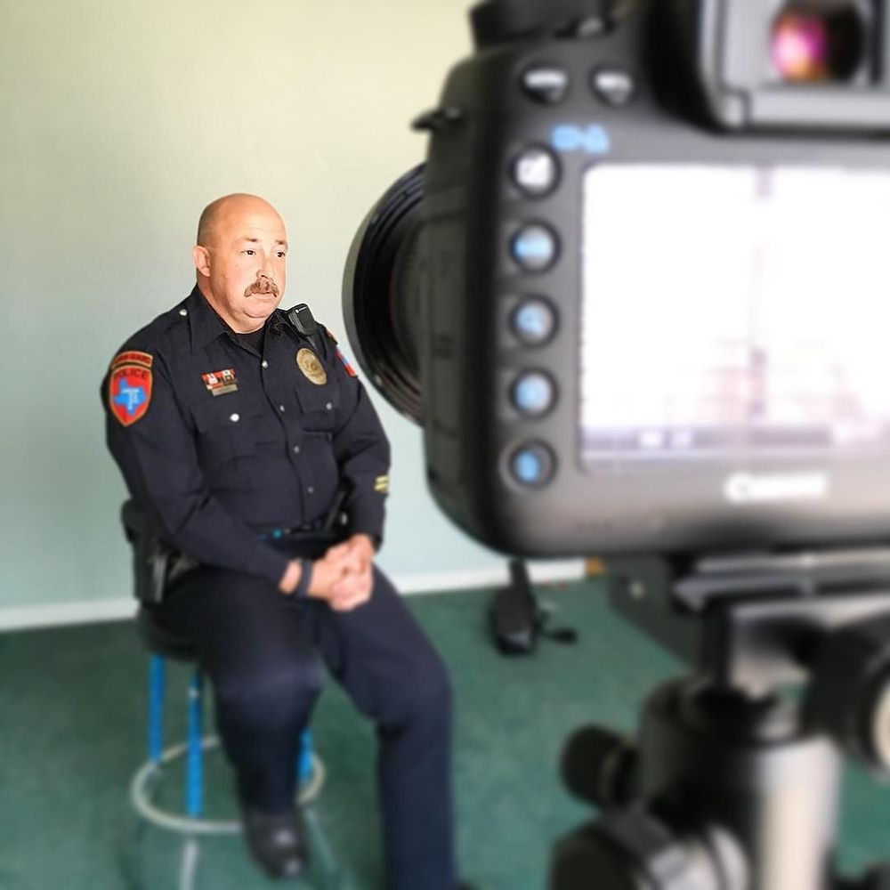 @renitphotodesign talking (and filming) Denton PD for @ServeDenton.
