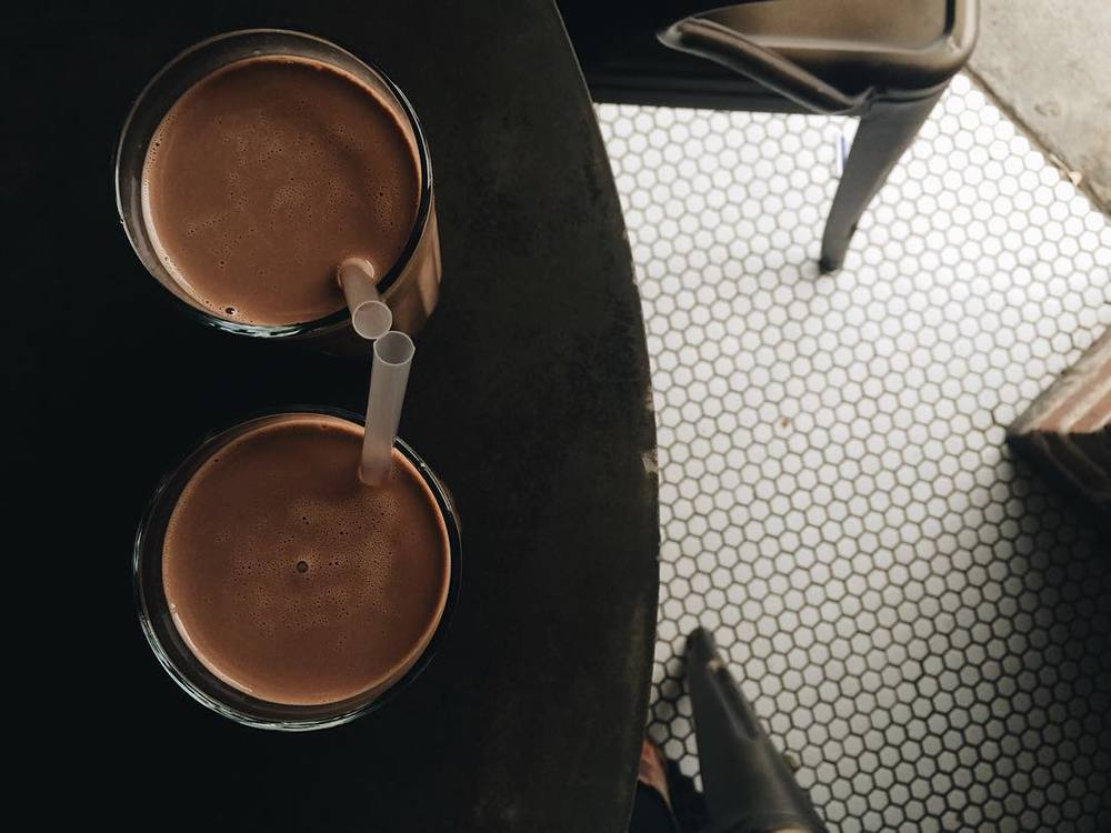 @jadewintersee with some chocolate milk on tap at West Oak Coffee Bar.