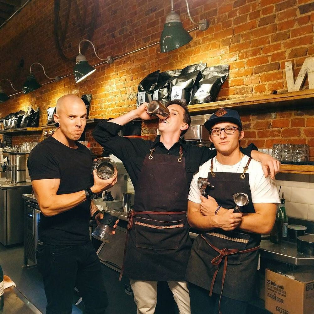 @joshpiers with a photo of a few of the men of West Oak Coffee Bar.