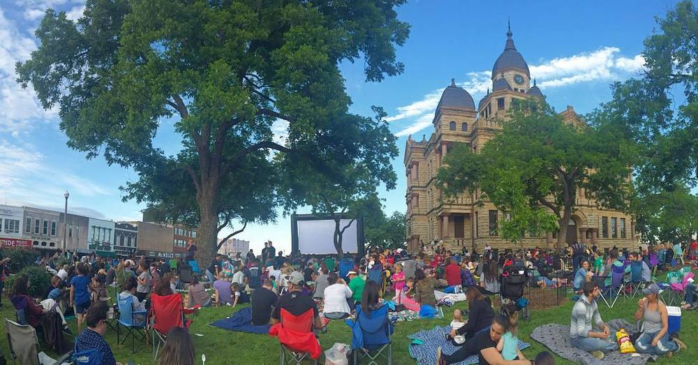 @mbryceo and Collage: Denton threw another courthouse lawn shindig with a viewing of the 90's baseball classic The Sandlot.