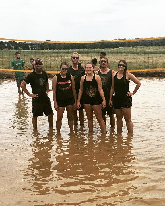 Muddy volleyball tournament. Photo by @shealollar.