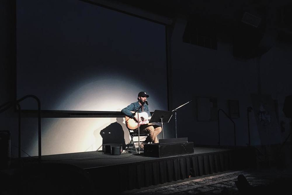 @kkbigley caught a short performance from Eric Pulido before watching  Harold and Maude  at Greater Denton Arts Council's Summer Cinema Series.