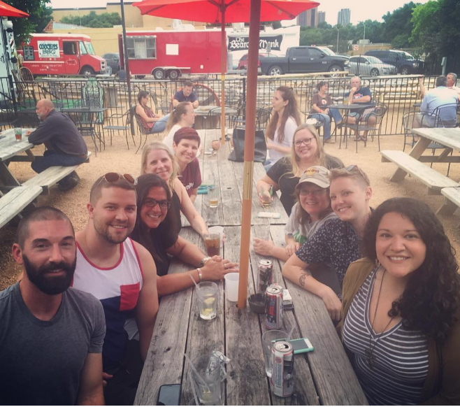 Foursquare claims that Denton has two of the best beer gardens in America  with Harvest House and Oak St. Drafthouse and we kinda agree. Here's @drcruz32 and company at East Side, another great Denton hangout.