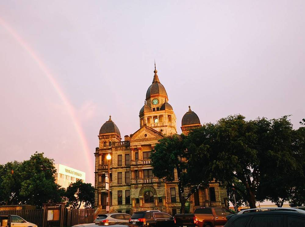 We'll end this week's edition of  What We Did  with a photo of the courthouse and a rainbow from @joshpiers.