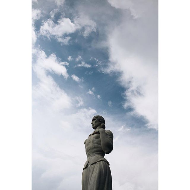 @andrewbwelchphoto snapped this photo of TWU's Pioneer Woman statue in front of a cloudy sky.